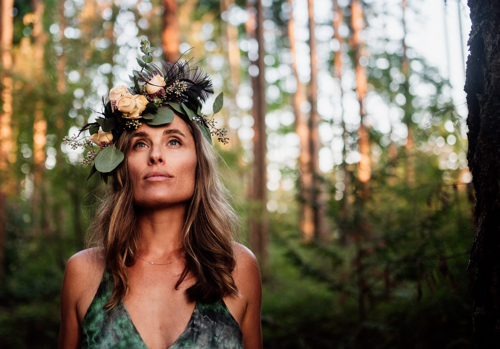 Women wearing flower crown in forest for lifestyle photoshoot